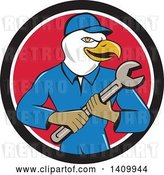 Vector Clip Art of Retro Cartoon Bald Eagle Mechanic Guy Holding a Spanner Wrench in a Black White and Red Circle by Patrimonio