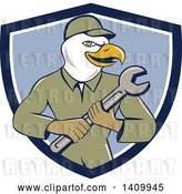 Vector Clip Art of Retro Cartoon Bald Eagle Mechanic Guy Holding a Spanner Wrench in a Blue and White Shield by Patrimonio