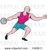 Vector Clip Art of Retro Cartoon Bald Male Athlete Throwing a Discus by Patrimonio