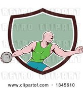 Vector Clip Art of Retro Cartoon Bald Male Athlete Throwing a Discus, Emerging from a Brown White and Green Shield by Patrimonio