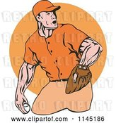 Vector Clip Art of Retro Cartoon Baseball Pitcher over an Orange Circle by Patrimonio