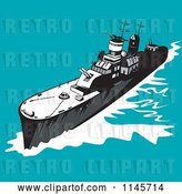 Vector Clip Art of Retro Cartoon Battleship 1 by Patrimonio