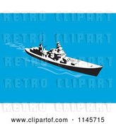 Vector Clip Art of Retro Cartoon Battleship 2 by Patrimonio