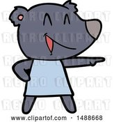 Vector Clip Art of Retro Cartoon Bear in Dress Laughing and Pointing by Lineartestpilot