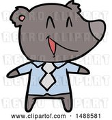 Vector Clip Art of Retro Cartoon Bear in Shirt and Tie by Lineartestpilot