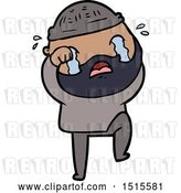 Vector Clip Art of Retro Cartoon Bearded Guy Crying and Stamping Foot by Lineartestpilot