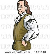 Vector Clip Art of Retro Cartoon Benjamin Franklin with His Hands on His Hips by Patrimonio