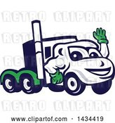 Vector Clip Art of Retro Cartoon Big Rig Truck Mascot Waving by Patrimonio