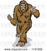 Vector Clip Art of Retro Cartoon Bigfoot Walking Forward and Pointing by Patrimonio