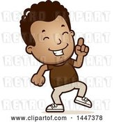 Vector Clip Art of Retro Cartoon Black Boy Doing a Happy Dance by Cory Thoman