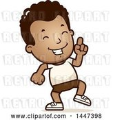 Vector Clip Art of Retro Cartoon Black Boy in Shorts, Doing a Happy Dance by Cory Thoman
