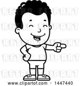 Vector Clip Art of Retro Cartoon Black Boy in Shorts, Laughing and Pointing by Cory Thoman