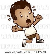 Vector Clip Art of Retro Cartoon Black Boy in Shorts Running Scared by Cory Thoman