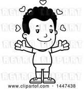 Vector Clip Art of Retro Cartoon Black Boy in Shorts, with Open Arms and Love Hearts by Cory Thoman
