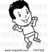 Vector Clip Art of Retro Cartoon Black Boy Jumping in Shorts by Cory Thoman