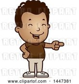 Vector Clip Art of Retro Cartoon Black Boy Laughing and Pointing by Cory Thoman