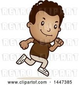 Vector Clip Art of Retro Cartoon Black Boy Running by Cory Thoman