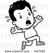 Vector Clip Art of Retro Cartoon Black Boy Running Scared by Cory Thoman