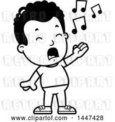 Vector Clip Art of Retro Cartoon Black Boy Singing by Cory Thoman