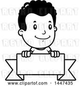 Vector Clip Art of Retro Cartoon Black Boy Smiling over a Blank Ribbon Banner by Cory Thoman