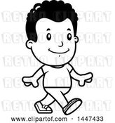 Vector Clip Art of Retro Cartoon Black Boy Walking by Cory Thoman