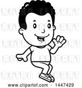 Vector Clip Art of Retro Cartoon Black Boy Waving and Sitting by Cory Thoman