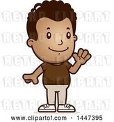 Vector Clip Art of Retro Cartoon Black Boy Waving by Cory Thoman