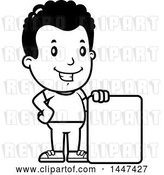 Vector Clip Art of Retro Cartoon Black Boy with a Blank Sign by Cory Thoman
