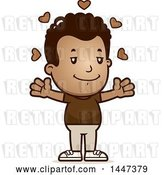 Vector Clip Art of Retro Cartoon Black Boy with Open Arms and Love Hearts by Cory Thoman