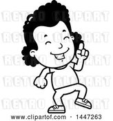 Vector Clip Art of Retro Cartoon Black Girl Doing a Happy Dance by Cory Thoman