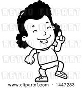 Vector Clip Art of Retro Cartoon Black Girl in Shorts, Doing a Happy Dance by Cory Thoman