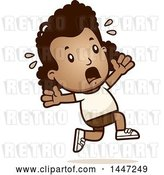 Vector Clip Art of Retro Cartoon Black Girl in Shorts, Running Scared by Cory Thoman