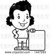 Vector Clip Art of Retro Cartoon Black Girl in Shorts, with a Blank Sign by Cory Thoman