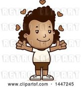 Vector Clip Art of Retro Cartoon Black Girl in Shorts, with Open Arms and Love Hearts by Cory Thoman