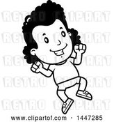 Vector Clip Art of Retro Cartoon Black Girl Jumping in Shorts by Cory Thoman