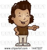 Vector Clip Art of Retro Cartoon Black Girl Laughing and Pointing by Cory Thoman
