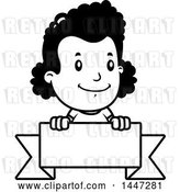 Vector Clip Art of Retro Cartoon Black Girl over a Blank Ribbon Banner by Cory Thoman