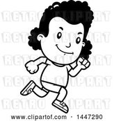 Vector Clip Art of Retro Cartoon Black Girl Running in Shorts by Cory Thoman