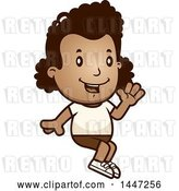 Vector Clip Art of Retro Cartoon Black Girl Sitting and Waving in Shorts by Cory Thoman