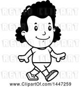 Vector Clip Art of Retro Cartoon Black Girl Walking in Shorts by Cory Thoman