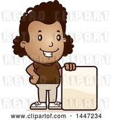 Vector Clip Art of Retro Cartoon Black Girl with a Blank Sign by Cory Thoman