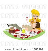 Vector Clip Art of Retro Cartoon Blond White Lady Feeding Her Guy a Strawberry As He Rests in Her Lap on a Picnic by BNP Design Studio