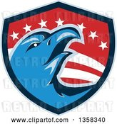 Vector Clip Art of Retro Cartoon Blue Bald Eagle Head in an American Shield by Patrimonio