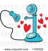 Vector Clip Art of Retro Cartoon Blue Candlestick Phone with Hearts I Just Called to Say I Love You by Johnny Sajem
