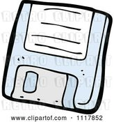 Vector Clip Art of Retro Cartoon Blue Computer Floppy Disk 1 by Lineartestpilot