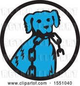 Vector Clip Art of Retro Cartoon Blue Dog Sitting with a Broken Chain in His Mouth Inside a Circle by Patrimonio