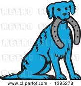 Vector Clip Art of Retro Cartoon Blue Dog Sitting with a Horseshoe in His Mouth by Patrimonio