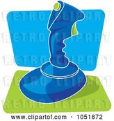 Vector Clip Art of Retro Cartoon Blue Video Game Joystick by Any Vector