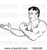 Vector Clip Art of Retro Cartoon Bodybuilder Flexing and Presenting by Andy Nortnik