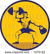 Vector Clip Art of Retro Cartoon Bodybuilder Lifting a Dumbbell and Holding a Kettlebell in a Blue and Orange Circle by Patrimonio